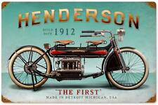 Henderson 1912 Vintage Metal Motorcycle Racing Sign Home Wall Decor FRC062