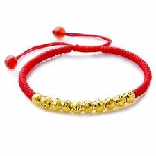 Pure 999 24k Yellow Gold Lucky Beads Red Rope Knitted Chain Bracelet /0.09g*10