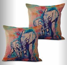 US SELLER-2pcs lucky elephant animal cushion cover cotton throw pillow covers