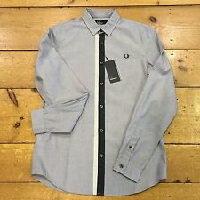 Fred Perry Long Sleeve Shirt Tipped Placket Industrial  Grey - XL