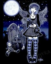 Gothic Blue Angel Grave Yard Rag Doll Signed PRINT Fairy Tabitha Myka Jelina Art