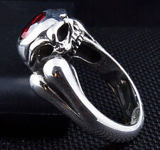 RED GARNET SKULL BONE 925 STERLING SILVER DESIGNER RING Sz 6.25 GOTHIC NEW