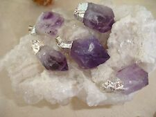 Amethyst Silver Plated (1) Rough Point Pendant Crystal Healing Chakra Balance