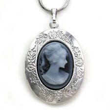 Gray Oval Cameo Custom Picture Locket Pendant Necklace Vintage Retro Style Charm