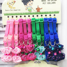 12PCS/Lot Puppy Dog Cat Collars W/ Bell Bowknot Necklace for Cute Dogs Wholesale
