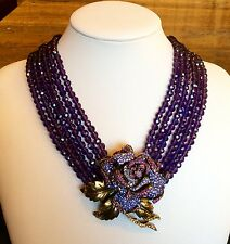 "HEIDI DAUS ""ROSE ELEGANCE"" 6-STRAND FACETED SWAROVSKI CRYSTAL NECKLACE STUNNING!"