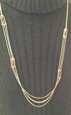 Lucky Brand Red Wine Semi-Precious Stones Gold Chain Necklace New Tags MSRP $49