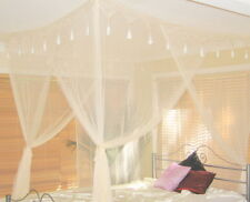 NEW Cream Mosquito Net Bed Canopy Super King 4 Poster Bed Style Box Net
