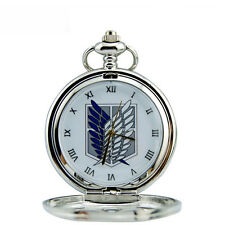 New Anime Attack on Titan Hollow Quartz Pocket Watch Necklace Cosplay Gift &Box