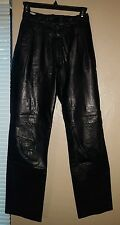 Vintage High Waisted Womens Black Real Leather Pants Oleg Cassini Size 4 Small