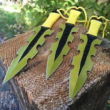 "3Pc 7.5"" Ninja Tactical Combat Gold Kunai Throwing Knife Set w/Sheath Hunting"
