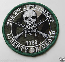 2nd Amendment Bill of Rights Liberty or Death Camo Embroidered Patch 3.25 inches
