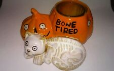 YANKEE CANDLE BONEY BUNCH  HALLOWEEN BONE TIRED VOTIVE HOLDER CAT PUMPKIN