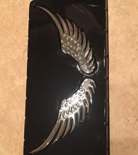 3D Metal Wings Design Car Badge Decal Logo Sticker Silver
