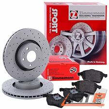 ZIMMERMANN SPORT BRAKE DISCS COAT Z + PADS REAR BMW 5 SERIES E60 E61 6 E63 E64