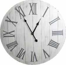 Large White Washed Wooden Wall Clock With Silver Metal Roman Numerals 50cm