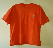 Nice Durable CARHARTT Logo Size L  Bolt Orange Cotton Tee Shirt with Pocket
