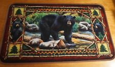 Black Bear & Cubs Cabin Lodge Home Decor Living Room Area Kitchen Rug Door Mat