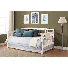 White Twin Size Wood Day Bed Home Living Room Dorm Guest Bedroom Furniture Den