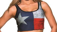 TEXAS Flag Red, White & Blue Crop Top. One Size. PA042. Made in the USA.