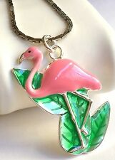 Silver Plated Pink Flamingo Necklace Island Bird Beach Plus Size Long 30 Inch
