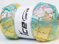 "Blue Green Yellow Pink Lilac Gold Ice Samos Ribbon Yarn 100gr 1/2""w x 92yd 31238"