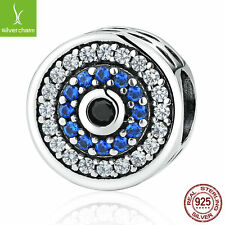 2016 Christmas Gifts 925 Sterling Silver Blue Crystals Eyes Round Charms Chain