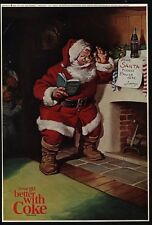 1963 SANTA CLAUS Checks Naughty & Nice List On CHRISTMAS Eve - COKE VINTAGE AD
