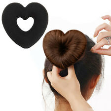 Sponget Foam Heart Donut Shaped Hair Updo Maker Bun Wraps Hair Ring Clip 1pc