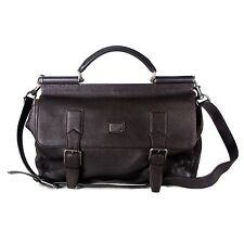 DOLCE & GABBANA XL NEW MESSENGER BRIEFCASE BAG - BROWN LEATHER TOTE MISS SICILY