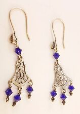 Dangly Vintage Glass Beads and Sterling Silver Earrings JE12