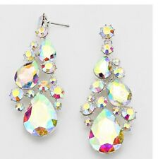 "3"" Long Silver Clear Aurora Borealis AB Austrian Crystal Pageant Earrings"