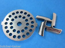 "3/16"" Meat Grinder plate disc & knife for Waring Pro Oster & Back to Basics"