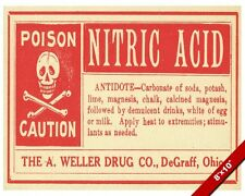 VINTAGE DRUG STORE NITRIC ACID POISON ANTIDOTE WARNING SIGN REAL CANVAS PRINT