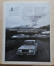 1971 magazine ad for Toyota - Vic Tennison of Yucca Valley CA high mileage drive