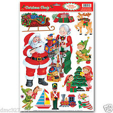 1 Sheet CHRISTMAS Party Decoration WINDOW CLINGS Cling SANTA'S WORKSHOP