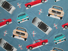 Mustang Cars Vehicle Mustangs Colors Cotton Flannel Fabric FQ