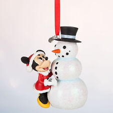 Disney Store Minnie Mouse with Snowman Holiday Christmas Ornament Figure NWT