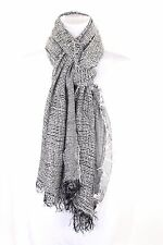 B30 Black & White Woven Raw Edge Fringe Soft Long Shawl Scarf Boutique
