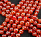 "Natural 8mm Red Faceted Agate Round Loose Beads Gemstone 15""L"