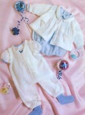 """BABY OR DOLLS CLOTHES KNITTING PATTERN DK & 4 ply JACKET DUNGAREES 14-20"""""""