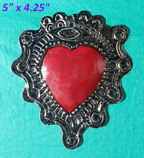 Wall Art Mexican Handmade Painted Tin Ornaments Heart Eye Milagro Red 3 for $19
