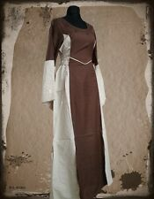 Medieval Ages dress Larp Maid reenactment Overdress Cotton Robe Canvas brown
