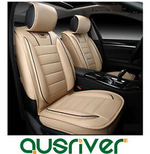 New Universal Leather Car Seat Cover Full Front Rear Beige For A4 A6 BMW Passat