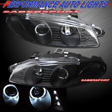 1997-1999 MITSUBISHI ECLIPSE DUAL HALO PROJECTOR HEADLIGHTS w/ LED BLACK PAIR