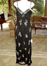 Sue Wong Black BEADED Evening Gown SILK Spaghetti Strap Dress Womens 8 NWT