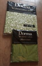 Vintage Mary Quant By Dorma Double Bedding Cotton sheet Green & Pillow Case