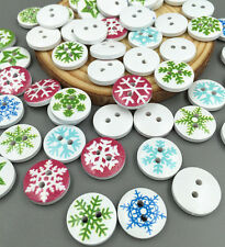 DIY 50X Christmas Snowflake Wooden Buttons Sewing Clothing Accessories 15mm