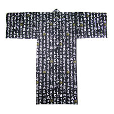 "Japanese Kimono Yukata Men's XL 61"" Length Kanji Character /Black/ MADE IN JAPAN"