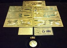 New~Amazing~11Pc.Lot~.999 Fine Gold$1Billion-$500 Banknotes Rep.*+Coin/Flake&Bar